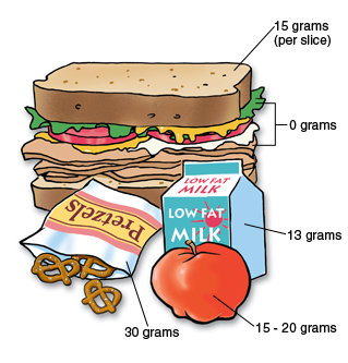 Lunch showing grams of carbohydrates. 15 grams per slice of bread, 0 grams in lettuce, mayonnaise, and tomatoes, 13 grams in carton of milk, 30 grams in bag of pretzels, and 15 grams to 20 grams in apple.