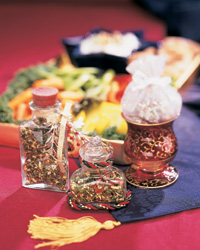 Jars of spices for making vegetable dip mix