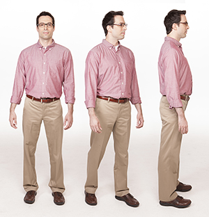 Three images showing man taking small steps to turn body.