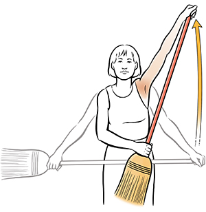 Woman doing broom stretch shoulder exercise.