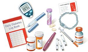 Diabetes toolkit showing log book, glucometer, insulin pen, medication bottles, insulin, glucose tablets, lancet, test strips, syringe, medicalert bracelet, and ID card.