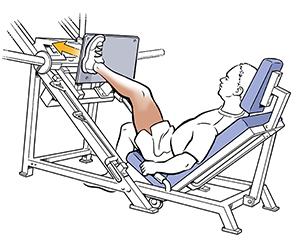 Side view of man using incline leg press.