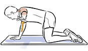 Man on all fours with left arm lifted to side doing reach and hold exercise.