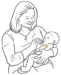 Woman holding digital thermometer in baby's armpit.