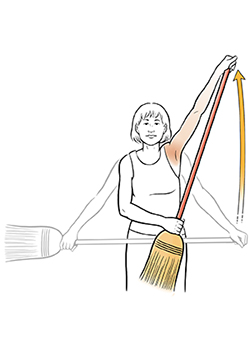 Woman doing broom stretch exercise.