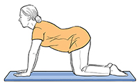 Woman on all fours with back sagging.