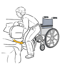 Healthcare provider sitting patient up in bed to start transfer to wheelchair.
