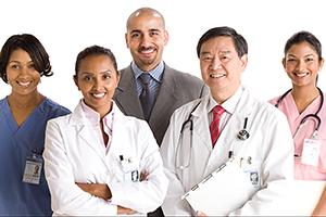 Portrait of five healthcare providers.
