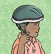With the helmet level, tighten the strap until one finger fits under it.