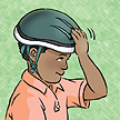 The helmet should not move forward or back.