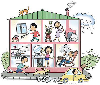 Cutaway view of house showing common asthma triggers.