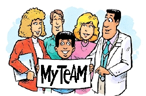 Boy with four healthcare providers.