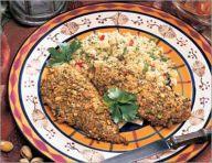 Chicken in a curry-pistachio crust