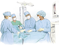 Four healthcare providers in surgical hats, gowns, gloves, and masks performing laparoscopic surgery.