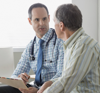 Man talking with his healthcare provider