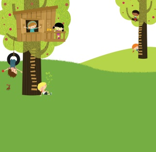 Stylized drawing of children playing in trees