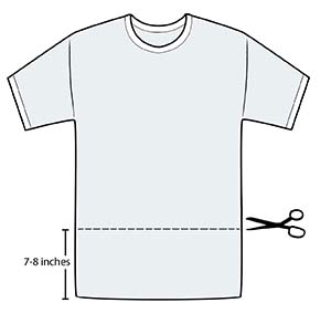 Scissors ready to cut section of T-shirt